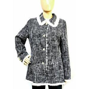 [परिधान] Chanel देवियों कोट प्रतिवर्ती फर कोट कॉलर कोको मार्क बटन ऊन खरगोश काले काले सफेद सफेद सोने धातु फिटिंग [प्रयोग किया जाता है] [Blumin / Morita प्यादा दुकान] [प्यादा दुकान प्रदर्शनी] [यू]
