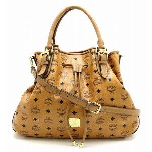 [Bag] MCM MCM Logogram Tote Bag Semi Shoulder 2WAY Shoulder Bag PVC Leather Cognac Light Brown MWS1AV124 [Used] [k]