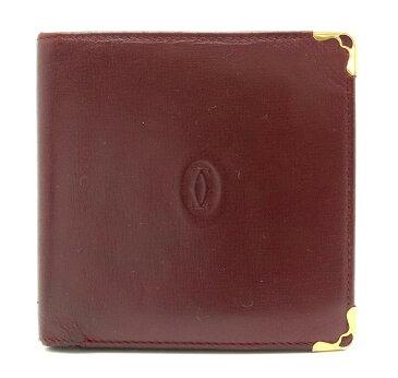【財布】Cartier カルティエ マストライン マスト ドゥ カルティエ 2つ折財布 レザー カーフ ボルドー ゴールド金具 【中古】【s】