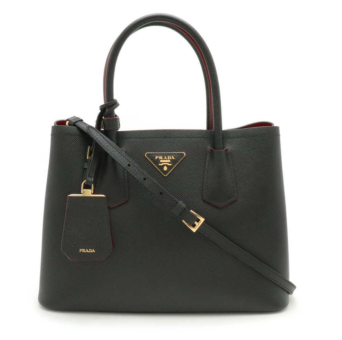 [Bag] PRADA Prada handbag tote bag 2WAY shoulder bag embossed leather NERO black FUOCO red domestic boutique purchase 1BG887 [used]
