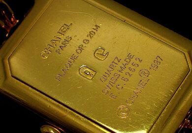 【現金特価】【ウォッチ】CHANELシャネルプルミエールLサイズブラック文字盤ゴールドメッキレディースQZクォーツ腕時計H0001【】【k】【Blumin/森田質店】【質屋出店】