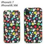 iPhone7/8/XR/XM スマホケース 携帯ケース プラスチック TPU スター 星 かわいい 柔らかい ストラップ アイフォンケース ブラック 黒 シンプル