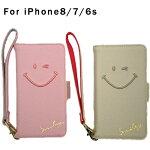 スマホケース iPhone8 iPhone7 iPhone6s  携帯ケース 手帳型 ブックレット スライド アイフォンケース スマホカバー 落下防止 ストラップ付 ニコちゃん スマイル スマイリー ピンク アイボリー シンプル かわいい