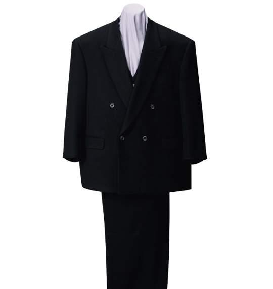 【大きいサイズ】【メンズ】 スリーピース4ツ釦1ツ掛スーツ ブラック 1152-1336-1 [2L・3L・5L・6L]:大きいサイズの店ビッグエムワン