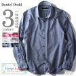 【送料無料】【大きいサイズ】【メンズ】DANIEL DODD 長袖綿麻無地ワイドカラーシャツ azsh-160111