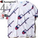 大きいサイズ メンズ Champion チャンピオン 総柄 半袖 Tシャツ USA直輸入 t1919s