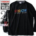 【大きいサイズ】【メンズ】VISION STREET WEAR 3D刺繍ロングTシャツ 8704118