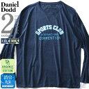 大きいサイズ メンズ DANIEL DODD オーガニックコットン プリント ロング Tシャツ SPORTS CLUB 秋冬新作 azt-190414