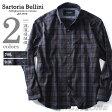 【大きいサイズ】【メンズ】SARTORIA BELLINI 長袖ダークチェックボタンダウンシャツ azsh-160412