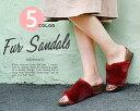 『 ファーサンダル レディース 』ボア・ファー・女性・女の子・履きやすい・もこもこ・ふわふわ・秋・冬・ベリージーン・BERRY JEAN・コンフォート・ウェッジサンダル・ファーサンダル・レディース