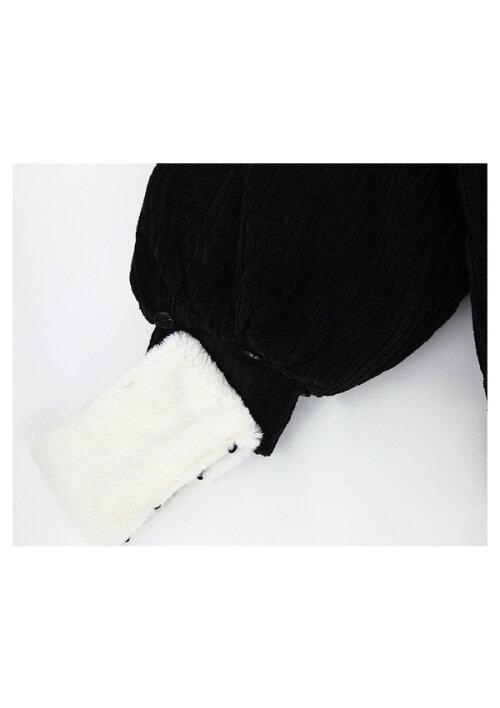極暖SETUP風セーラーBIGアウターコーデュロイリボン2WAYジャケットコートレディース黒ボルドー原宿系ゆめかわいいファッションボボンニジュウイチC1823