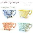 アンソロポロジー【Anthropologie】Attingham Teacup ティーカップイニシャルマグカップ カフェ マグカップ コーヒー 猫足