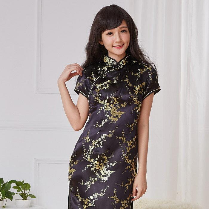 チャイナドレス5サイズ有り半袖ロング半袖ショート袖無しロングa02