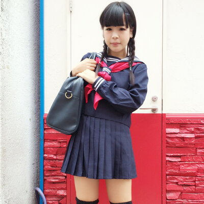 紺地長袖セーラー costume217 コスプレ♪コスチューム衣装♪メイド♪AKBアキバ♪女子高生♪セー...