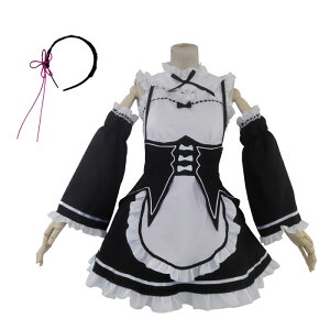 Rezero Re: ZERO -Starting Life in Another World- Rem Style Costume Set Anime Cosplay Costume Anikosu Costume Event Costume Maid Costume 4 Piece Set