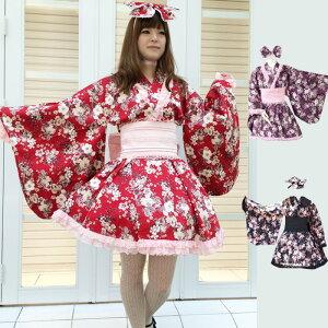 古典柄椿姫 ゴスロリ浴衣 L229 ゴスロリ♪ロリータ♪パンク♪コスプレ♪コスチューム♪メイド