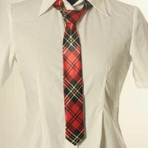 ネクタイ細身チェック柄赤地黒白tie041