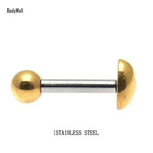 14Gゴールドシンプルハートストレートバーベルステンレスシャフト耳たぶロブへリックス軟骨舌ピアスボディピアス【BodyWell】