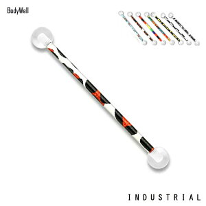 インダストリアル14Gド派手全8種類軟骨ピアスロングバーベルボディピアス【BodyWell】