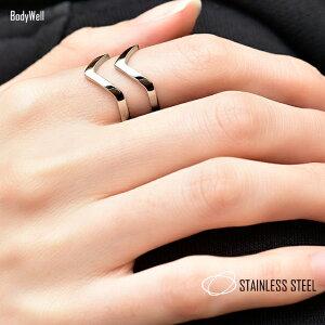 Vデザインステンレスリング指輪メンズレディースステンレスアクセサリーペアアクセサリーペアリング結婚金属アレルギー対応