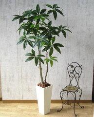 【送料無料】パキラ:130cm 鉢色:白 (人工観葉植物)