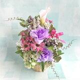 【送料無料】<紫色の薔薇と白いカラーリリー>【造花】【人工観葉植物】【光触媒】【ギフト】【贈り物】【特別価格】