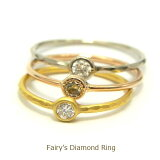 My Fairy's Diamond Ring☆ダイヤ0.07ct 22金 極細鍛造ダイヤリング一粒ダイヤリング華奢リング 細い指輪ピンキーリング金属アレルギー対策