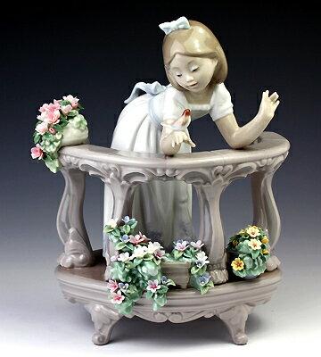 リヤドロ(Lladro リアドロ 陶器人形 置物) 花と少女 バルコニーの朝#ldr-6658:食器&美容雑貨のボンドストリート