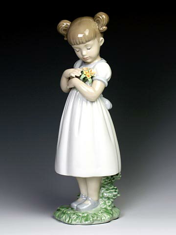 リヤドロ(Lladro リアドロ 陶器人形 置物) 花と少女 素敵なお花#ldr-8021