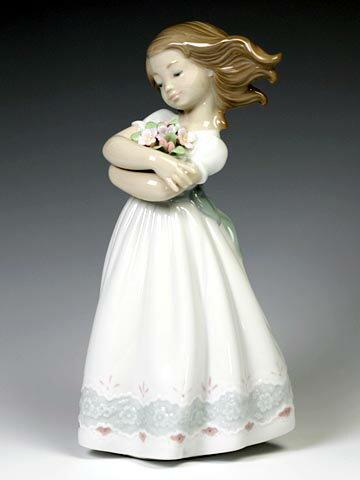 リヤドロ(Lladro リアドロ 陶器人形 置物) 花と少女 さわやかな風#ldr-8248
