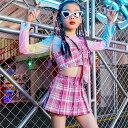キッズ チアガール ダンス衣装 チアガール ダンス ヒップホップ ヘソ出し セットアップ 女の子 スカートセット チェック 長袖 キッズダンス衣装 シャツ+スカート 上下 ジャッズ 舞台 韓国 ダンスウェア 演出服 おしゃれ ステージ