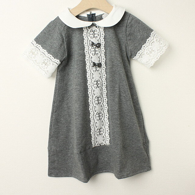 Le Cou Cou(ル・クク) レース付ワンピース グレー S(96cm-110cm) M(110cm-120cm)