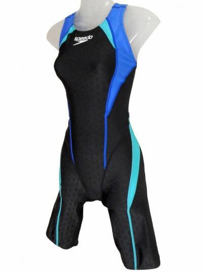 SPEEDO(スピード)レディース競泳水着FINA承認ウイメンズセミオープンバックニースキン(スキューバ×ボンダイブルー)★Lサイズ[SD44H05(SB)]【水泳水着】競泳用水着女性用ハーフスパッツレッグスーツハーフスーツ