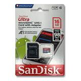 SanDisk マイクロSDカード 16GBmicroSDHC クラス10 UHS-I98MB/s 653X A1対応SDSQUAR-016G-GN6MA