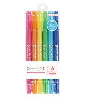 トンボ鉛筆 水性サインペン プレイカラーK 6色A GCF-611A