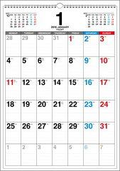 書き込み式月曜始まりシンプルカレンダー(B3タテ)(2016年)