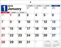 書き込み式シンプルカレンダー(リングレスタイプ/B4ヨコ)(2018)