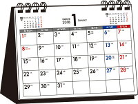 シンプル卓上カレンダー(月曜始まりA6ヨコ)(2018)