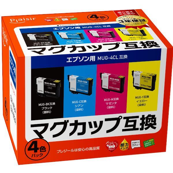 プレジール エプソン マグカップ 互換 インクカートリッジ 4色BOX(顔料ブラック、染料シアン、染料マゼンタ、染料イエロー) PLE-EMUG-4P