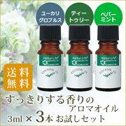 すっきりする香りのエッセンシャルオイル 3点セット<ユーカリ・グロブルス 3mL&ティートゥリー 3mL&ペパーミント 3mL>