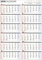 書き込み式1年カレンダー A2(2019年)