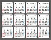 何度でも貼ってはがせるシールカレンダー(2019年)