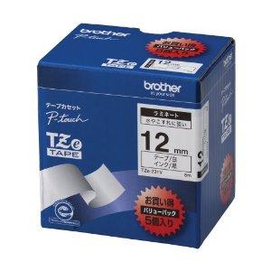 【ブラザー純正】ピータッチ ラミネートテープ TZe-231V 幅12mm (黒文字/白/お得5本パック)
