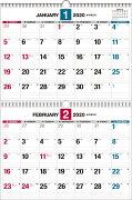 2020年 ダブルリング式2ヵ月シンプルカレンダー[B3]