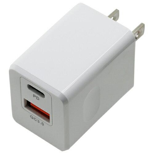 PD&QC対応 Type-C/1 USBポート AC充電器 18W ホワイト