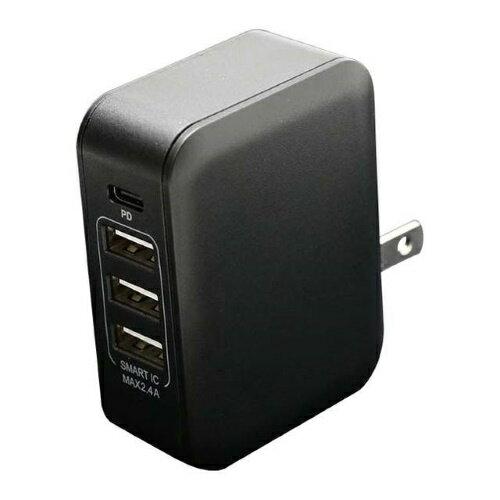 PD対応 Type-C/3 USBポート AC充電器 30W ブラック