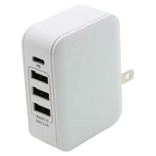 PD対応 Type-C/3 USBポート AC充電器 30W ホワイト