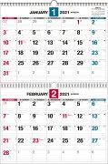 2021年 ダブルリング式2ヵ月シンプルカレンダー[B3]