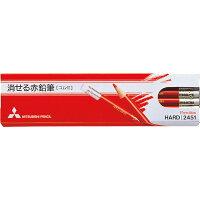 三菱鉛筆 色鉛筆 消せる赤鉛筆 ゴム付き 1ダース K2451