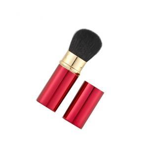 携帯チークブラシ(赤) 粗光峰(ヤギ)